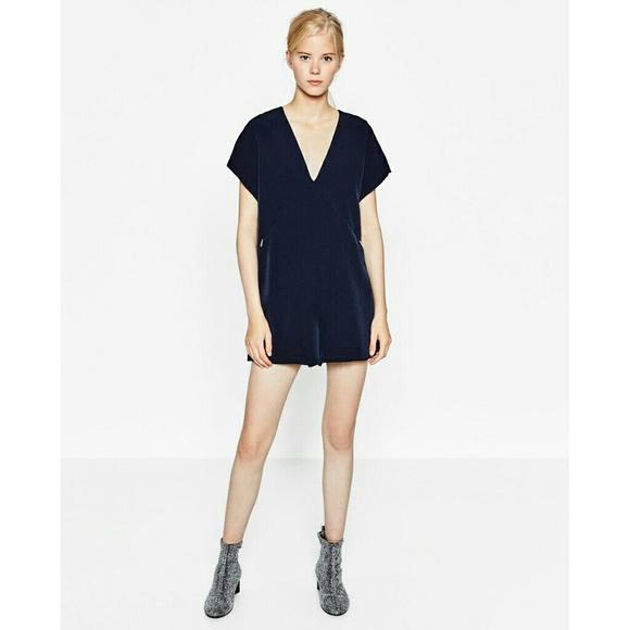 1d2d0f651de Zara Short V-Neck Navy Jumpsuit
