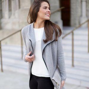 Sweaters - Leather Trim Cardigan - Grey