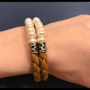 Honora Jewelry - Honora Braided Tan Leather Pearl & Silver Bracelet