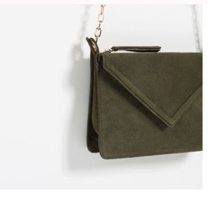 Olive leather cross body bag