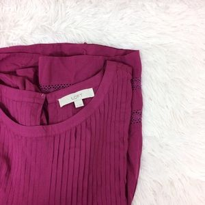 LOFT magenta short sleeve peasant top