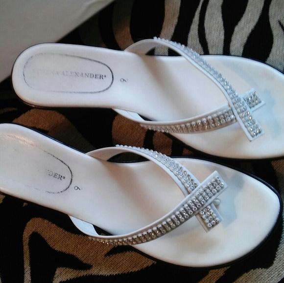 57392cb2d7a251 Athena Alexander Shoes - White Athena Alexander Rhinestone Wedge Sandal