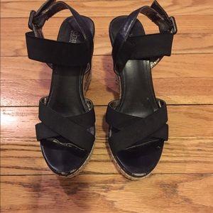 Black Charles David wedge sandals