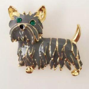 Vintage Yorkshire Terrier Maltese Shih Tzu Brooch