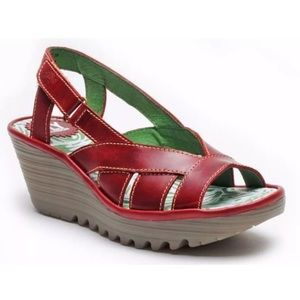 Fly London Shoes - Fly London Green Leather Yisa Petrol Sandals Heels