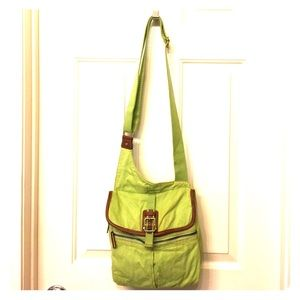 Fossil Handbags - FOSSIL green denim with leather trim cross body