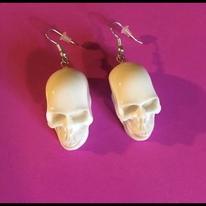 Adia Kibur Jewelry - Adia Kibur Skull Earrings - White