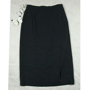 TALBOTS 100% wool front slit black long skirt