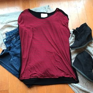 Red and black striped dolman top