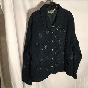 flashback Jackets & Blazers - Ladies denim jacket with all over flower beading