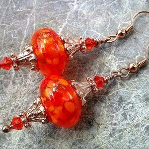 Artisan, Handmade  Jewelry - Orange Handmade Lamowork Bead & Copper Earrings