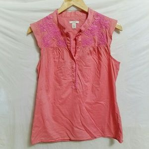J. Crew embroidered sleeveless top