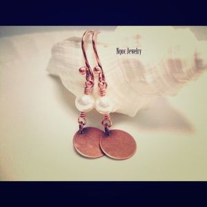 ngocjewelry.com Jewelry - Swarovski Pearl and Copper Disc Earrings