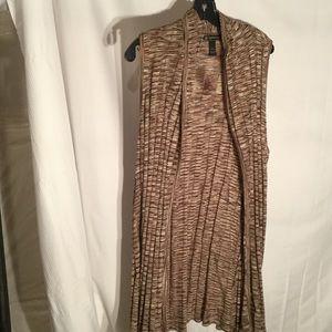 Ladies brown variegated vest 2x NWT