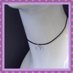 Boutique Jewelry - 🖤Black Rope Choker with Silver Crescent Pendant🖤