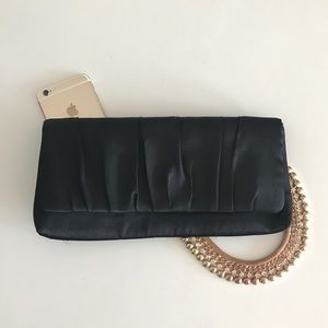 Lela Rose Handbags - Simply Black Silky Clutch