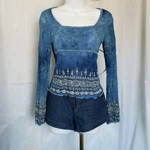 Fang Tops - ⬇GORGEOUS BLUE BOHO TOP WITH BELL SLEEVES