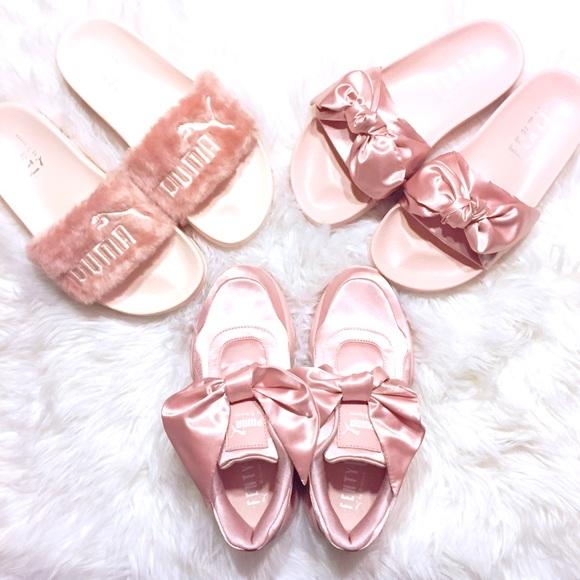 sports shoes 65c3b 1c7c5 Fenty x PUMA Pink Bow Slides 🎀 NWT