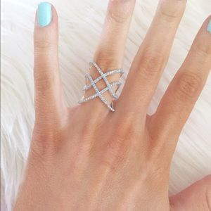 Express baby blue intricate ring