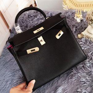 💋Kelly leather bag【Black】
