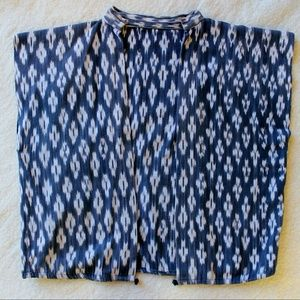 Indigo Ikat Vest, Handwoven and Hand-dyed
