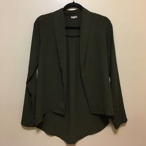 Eyeshadow Tops - Opaque green cardigan? Shirt thing?