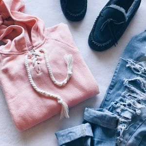Ocean Drive Tops - Coral Pink Knotted Hoodie / Sweater