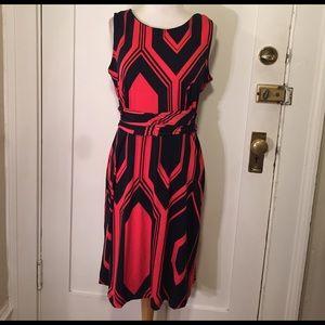 NY Collection Dresses & Skirts - NY Collection Orange navy chevron zigzag dress NWT