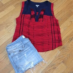 Ecote Tops - Ecote Red and Navy Blue Blouse