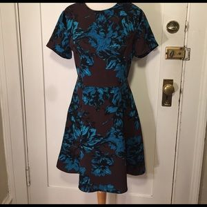who what wear Dresses & Skirts - Who What Wear Brown blue floral fit flair dress