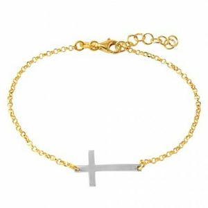 Jewelry - 14k gold plated italian Rolo Cross Bracelet
