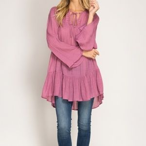 She and Sky Tops - Long Bell sleeve tunic