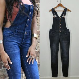 Tinseltown Pants - Tinseltown Rose Gold Button Overalls