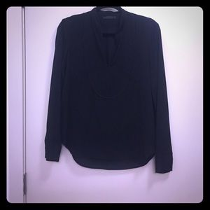 The Row Tops - The Row split neck black blouse