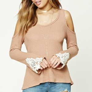 Forever 21 Tops - *NEW* Waffle Knit Cold Shoulder Top
