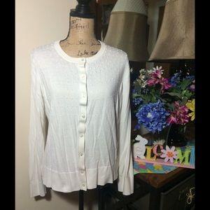 Ann Taylor Sweaters - Ann Taylor Cream w/ Faux Pearls Cardigan