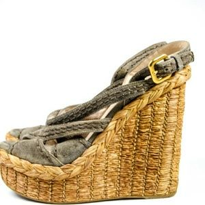 Prada  Shoes - Prada Mushroom Gray Suede Jute Straw Wedges