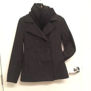 Ambiance Apparel Jackets & Blazers - Charcoal Grey Pea Coat