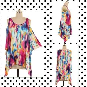 Tops - COMING SOON Off Shoulder Colorful Print Tunic Top