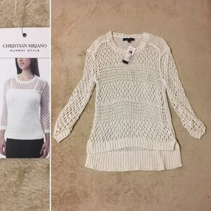 Christian Siriano Sweaters - 🆕 White Loose Ribbon Knit Sheer Sweater Hi-lo
