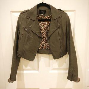 Jackets & Blazers - Grey-Olive Faux Leather Jacket