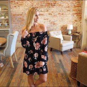 Dresses & Skirts - Black floral off shoulder dress