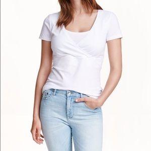 H&M Mama white organic cotton jersey nursing tee