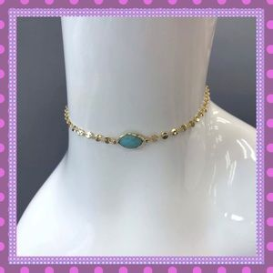 Boutique Jewelry - 🛍Gold Choker with Single Turquoise Stone🛍
