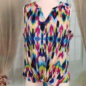 new directions Tops - New Directions Multi Colored Sleeveless Blouse