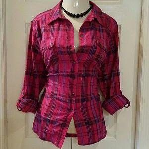 Alia Tops - Pink Purple plaid button down shirt plus size 20W