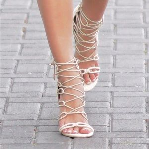 Style Link Miami Shoes - NUDE LACE UP HEELS