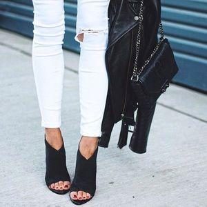 SavedByTheShoes Shoes - Effortless Black Suede Peep Toe Mule