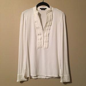 BCBG MAX AZRIA White Tuxedo Long Sleeve Shirt