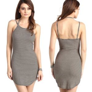 Double Strap Halter Cami Fitted Mini Tunic Dress